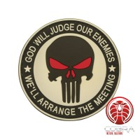 God Will Judges Our Enemies * We'll arrange the meeting 3D witte Punisher PVC Patch met klittenband