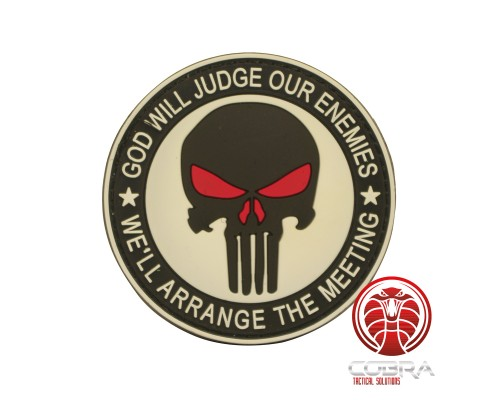 God Will Judges Our Enemies * We'll arrange the meeting 3D witte Punisher PVC Patch met klittenband