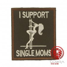 I support Single moms geborduurde zwart patch met klittenband