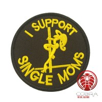 I support Single moms geborduurde ronde zwart patch met klittenband