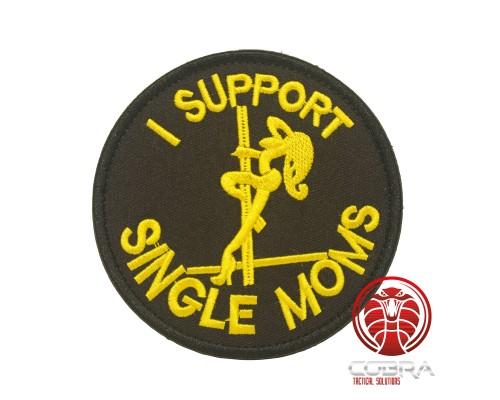 I support Single moms geborduurde ronde zwart patch met klittenband