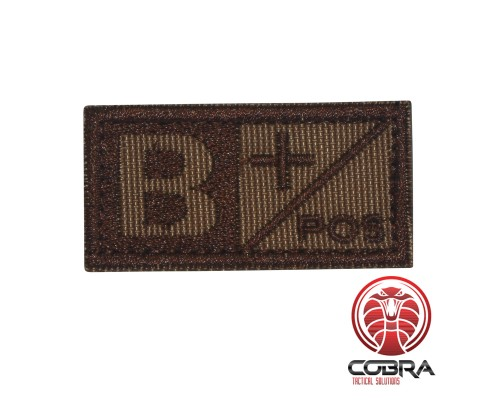 Bloedgroep B+ POS bruin geborduurde militaire patch met klittenband