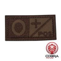 Bloedgroep O+ POS bruin geborduurde militaire patch met klittenband