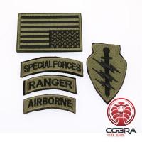 Set militaire patchen Special Forces Ranger Airborn met vlag USA Brons met klittenband