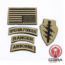 Set militaire patchen Special Forces Ranger Airborn met vlag USA Goud met klittenband