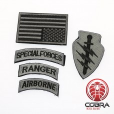 Set militaire patchen Special Forces Ranger Airborn met vlag USA Zilver met klittenband