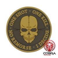 One Shot * One Kill * No Remorse * I Decide 3D PVC Patch bruin met klittenband