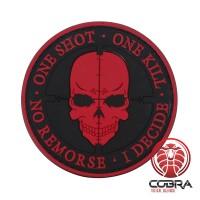 One Shot * One Kill * No Remorse * I Decide 3D PVC Patch Rood met klittenband