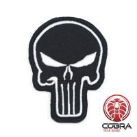 Geborduurd Punisher's embleem patch zwart met klittenband