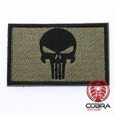 Geborduurd Punisher's embleem Groen Zwart met klittenband