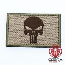 Geborduurd Punisher's embleem Groen Bruin met klittenband