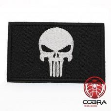 Geborduurd Punisher's embleem Wit Zwart met klittenband