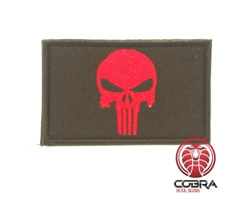 Geborduurd Punisher's embleem Rood Zwart met klittenband