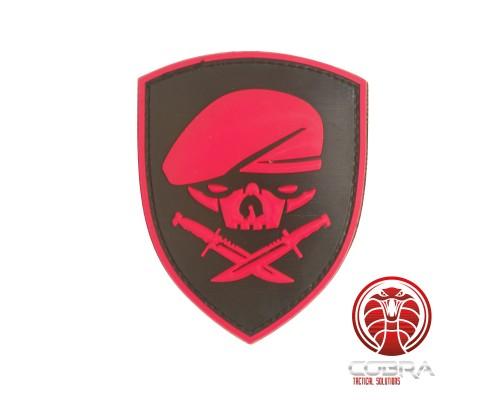 SAS baret doodshoofd 3D PVC patch rood met klittenband