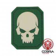 Doodshoofd 3D PVC patch Fluo groene achterkant en klittenband
