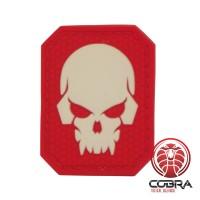 3D PVC patch Fluo Doodshoofd met rode achterkant en klittenband