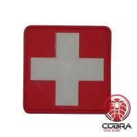 Wit kruis medische 3D PVC patch met klittenband