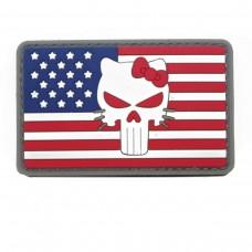 Hello Kitty met Rode ogen op de vlag van Amerika Cosplay PVC Patch met klittenband