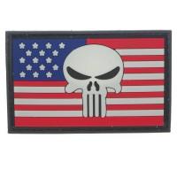 Punisher wit hoofd op de vlag van Amerika Cosplay PVC Patch met klittenband