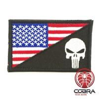 Punisher op de vlag America Geborduurde patch met klittenband