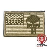 Punisher op de vlag America Geborduurde gouden patch met klittenband