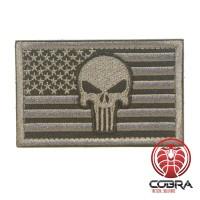 Punisher op de vlag America Geborduurde zilveren patch met klittenband