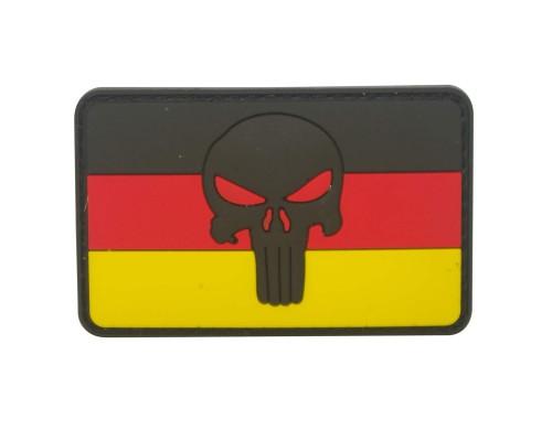 Punisher zwart hoofd op de vlag van Duitsland Cosplay PVC Patch met klittenband