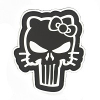 Hello Kitty Punisher PVC Cosplay Patch Zwart met klittenband