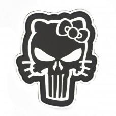 Hello Kitty Punisher PVC Cosplay Patch Zwart met klittenband