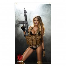 Charlie  - Sexy Woman with M4 CQB rifle - 90 x 150 cm Durable Polyester Airsoft - Flag Banner