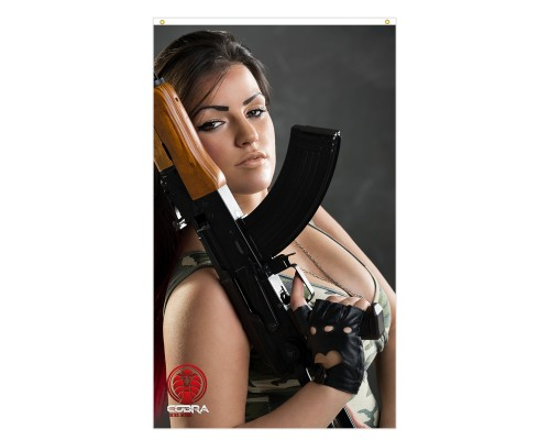 Daisy - Sexy Woman with Kalashnikov - 90 x 150 cm Durable Polyester Airsoft - Flag Banner