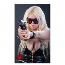 Edessa - Sexy Woman holding a pistol - 90 x 150 cm Durable Polyester Airsoft - Flag Banner