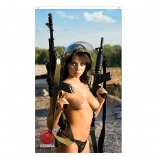 Gabriela - Sexy Woman with an M16 and M1A rifle - 90 x 150 cm Durable Polyester Airsoft - Flag Banner