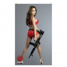 Hanna - Sexy Woman with an M16 rifle - 90 x 150 cm Durable Polyester Airsoft - Flag Banner