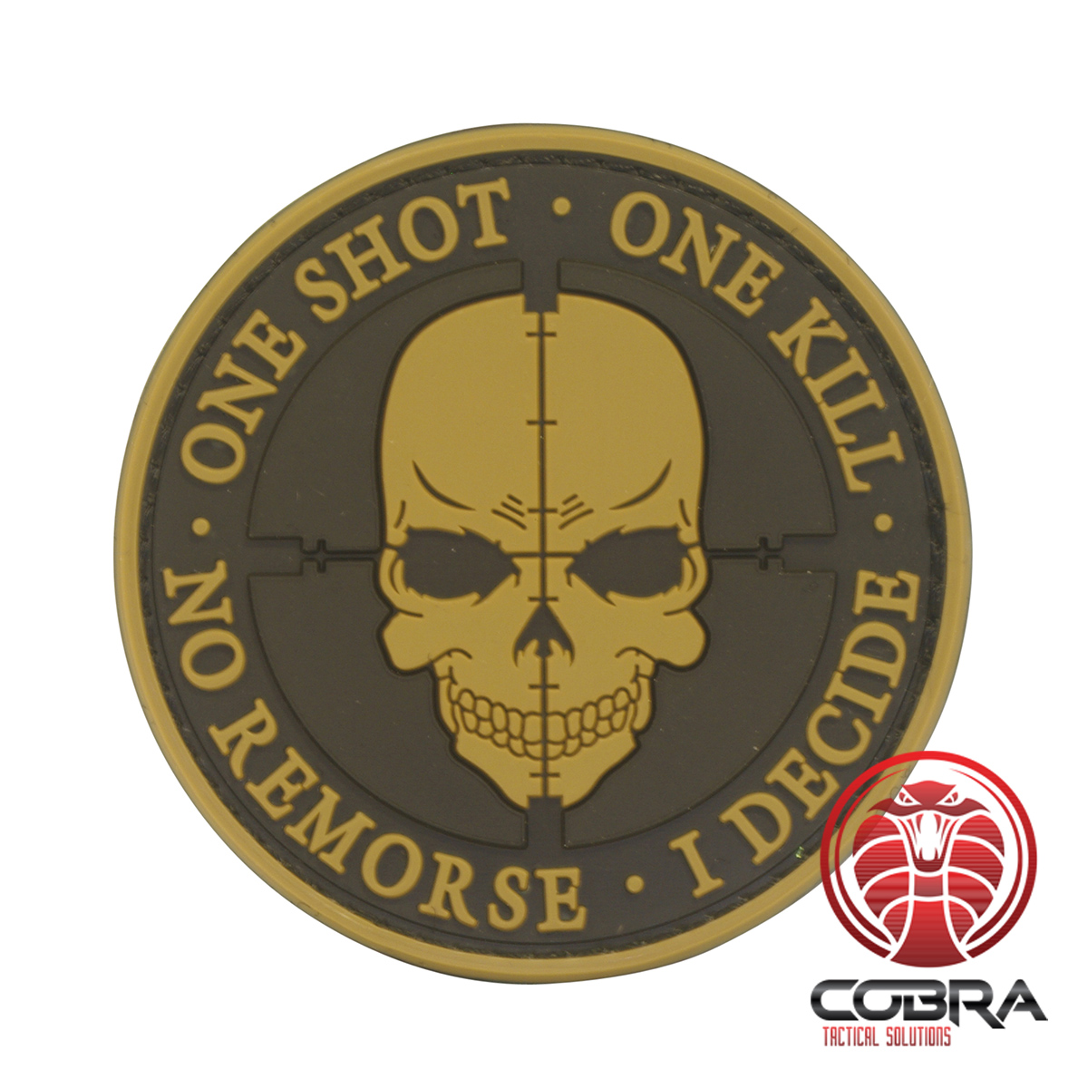 Cobra Tactical Solutions One Shot One Kill No Remorse I Decide 3D Brown Sniper skull PVC Patch with Hook /& Loop Airsoft